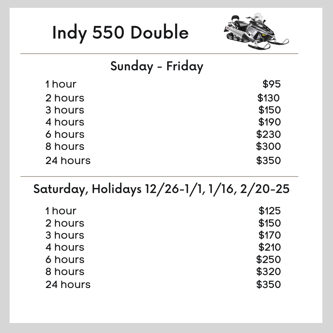 Indy 550 Double Snowmobile pricing
