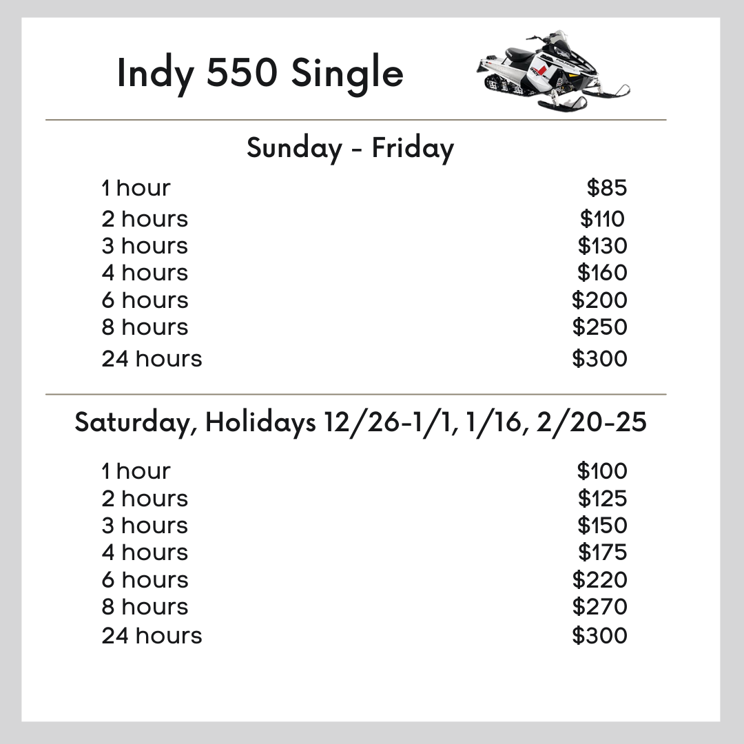 Indy 550 Single snowmobile pricing