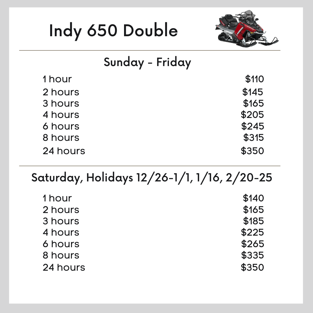 Indy 650 Double snowmobile pricing