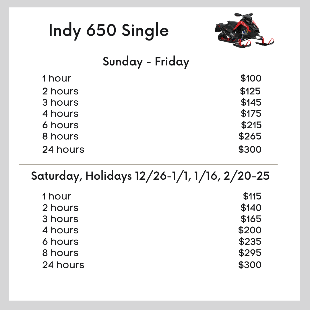 Indy 650 Single snowmobile pricing